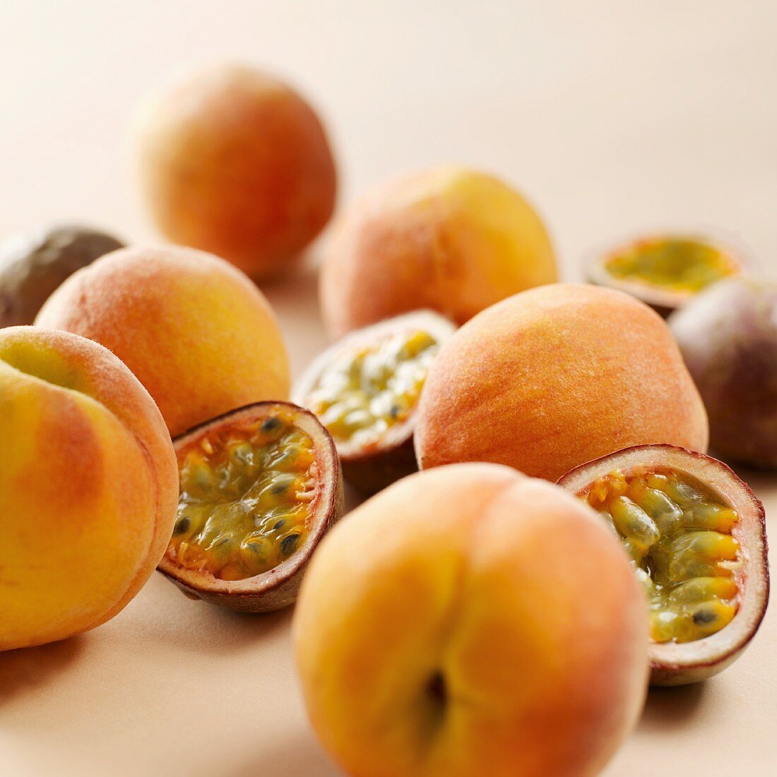 Red passion fruits and peaches