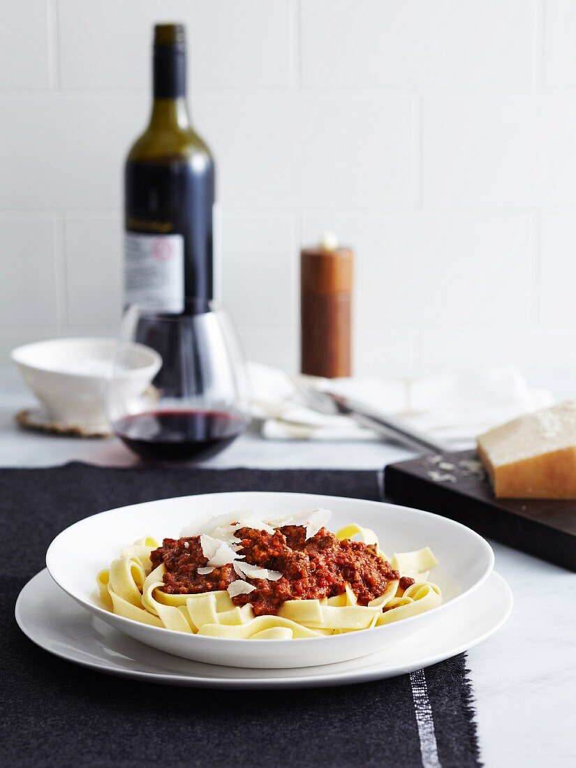 Tagliatelle with bolognese sauce and red wine