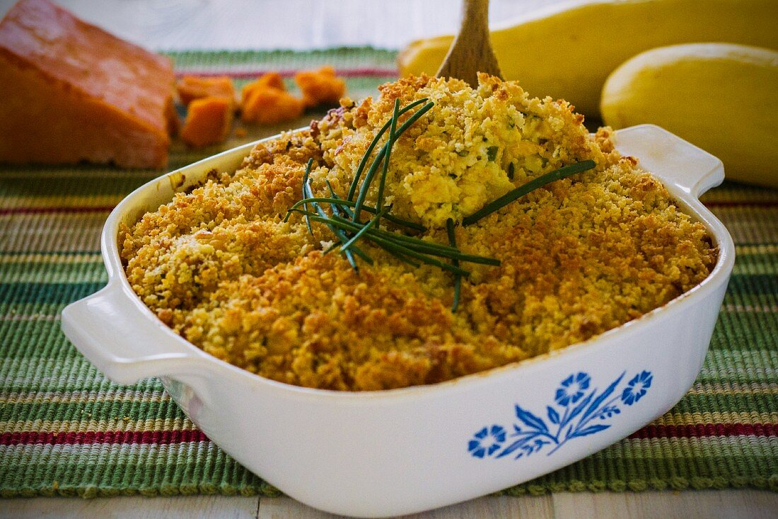 Butternut squash bake with cheddar cheese and chives