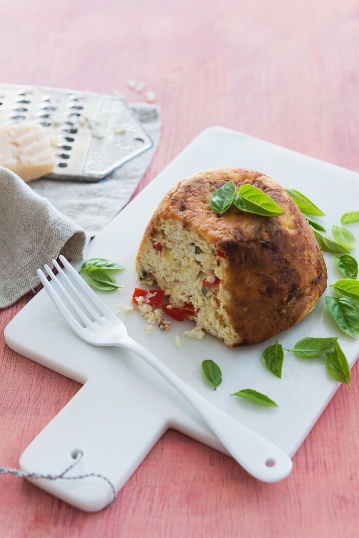 Baked ricotta with basil