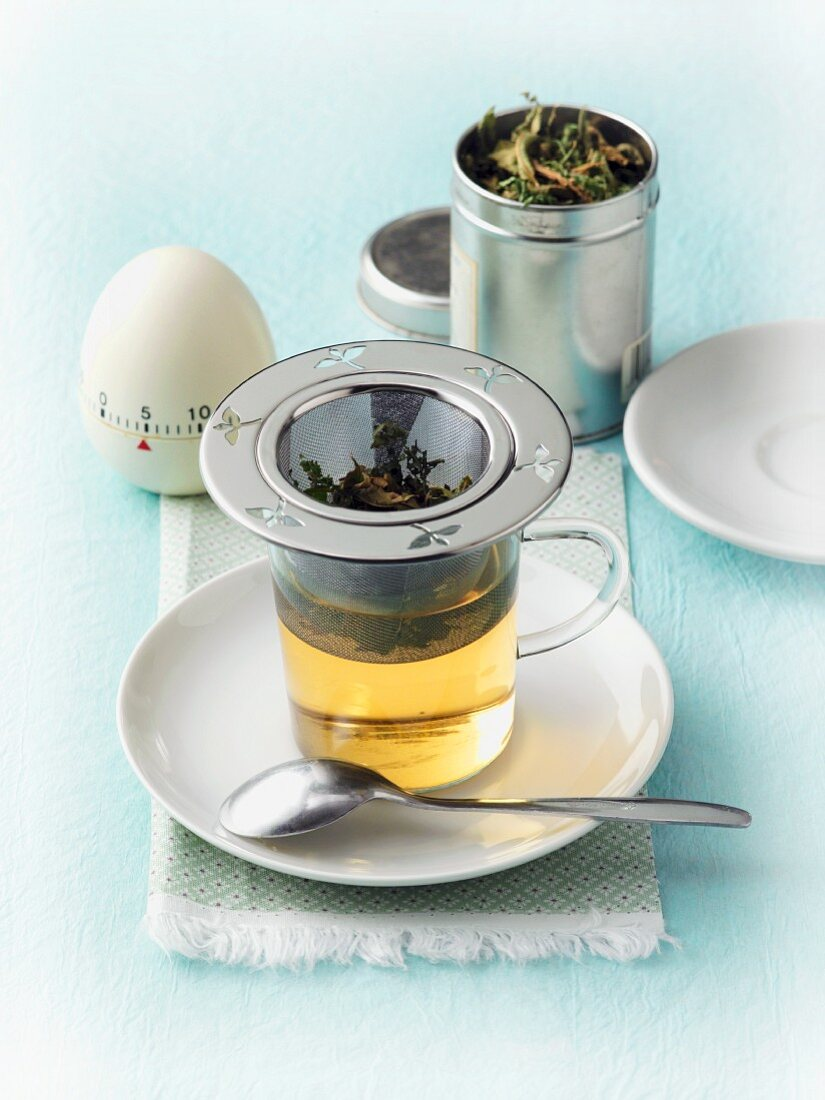 Herbal tea being made