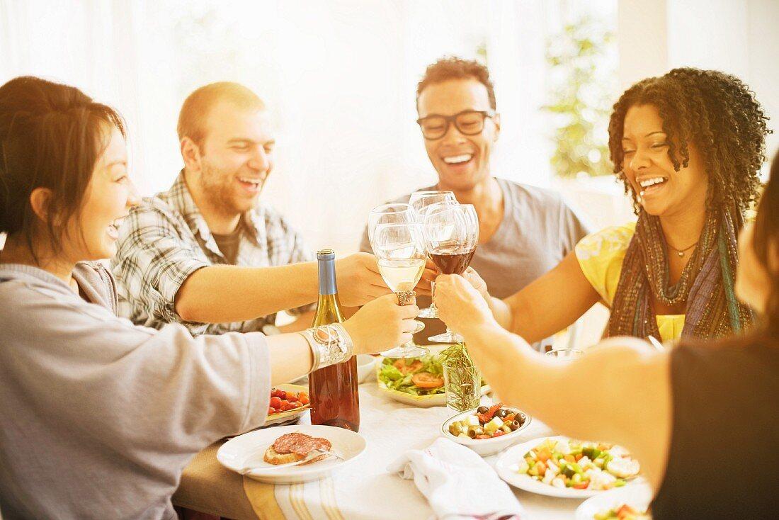Friends enjoying a dinner party