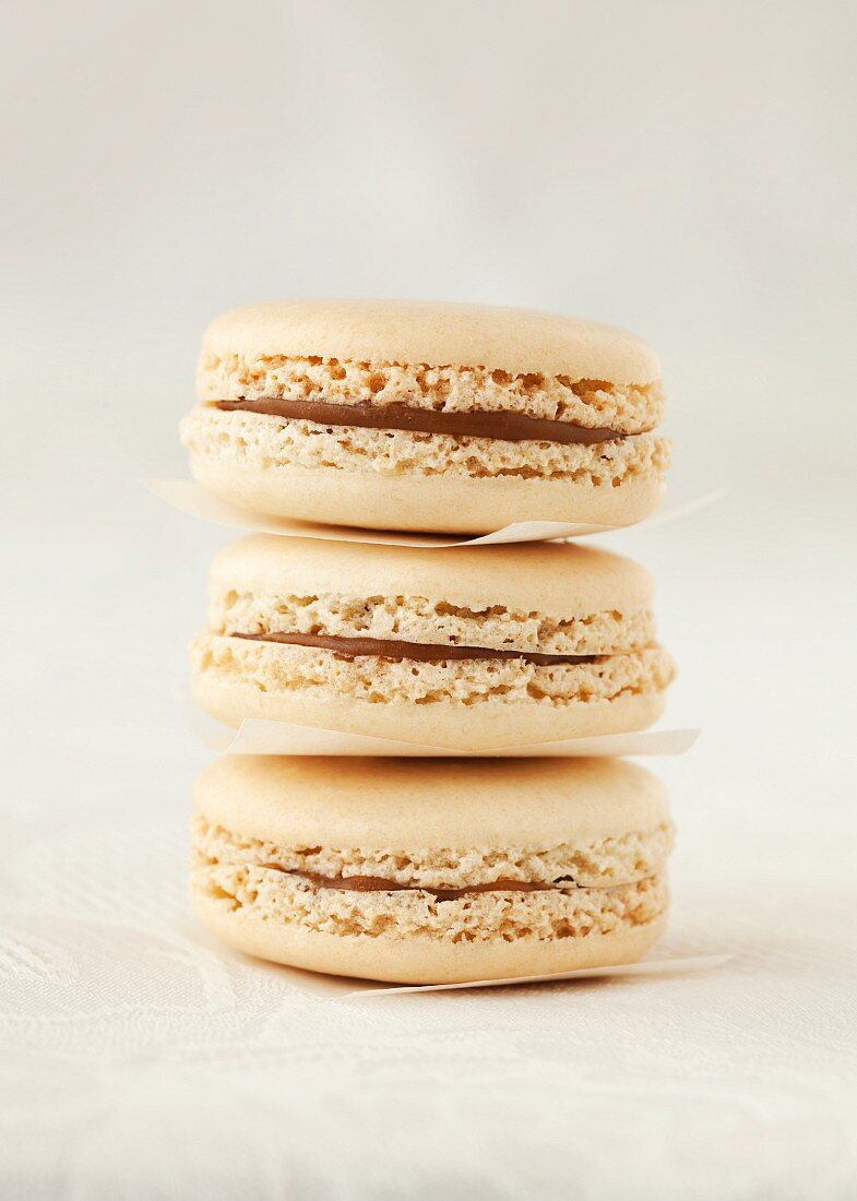 A stack of coffee macaroons