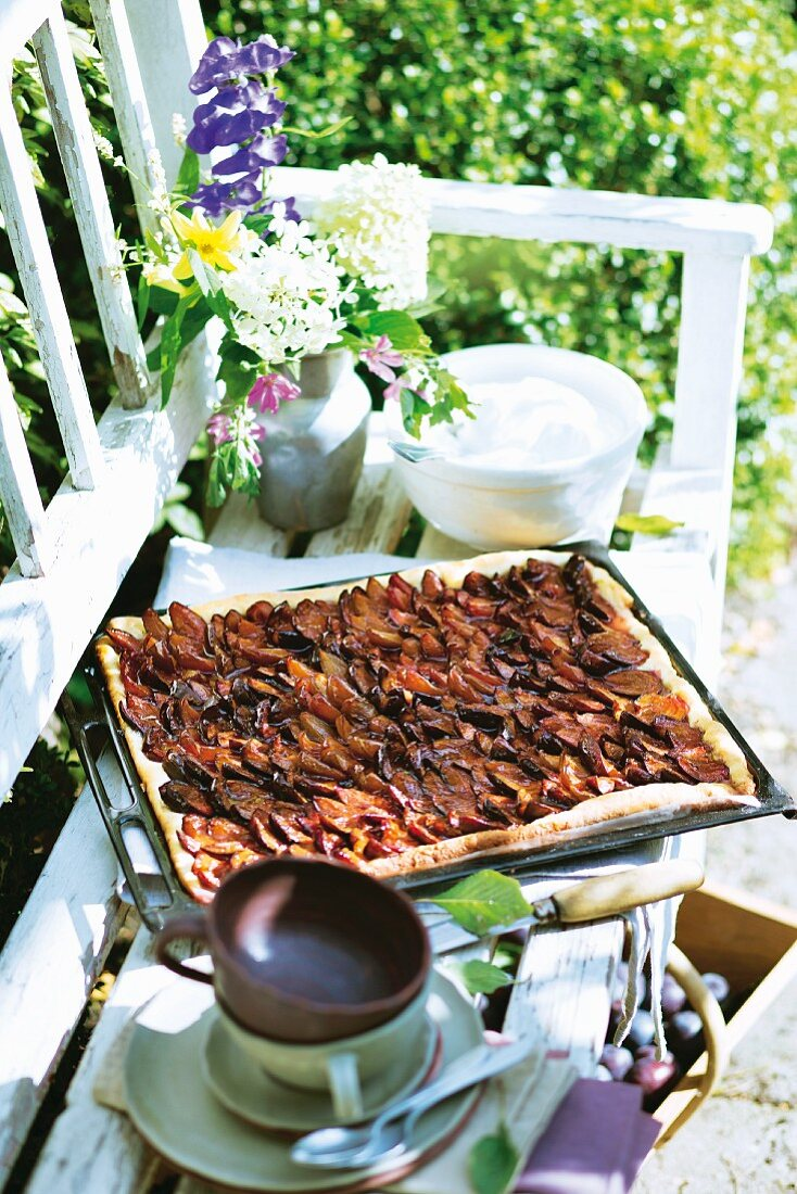 Damson cake with pecan nuts