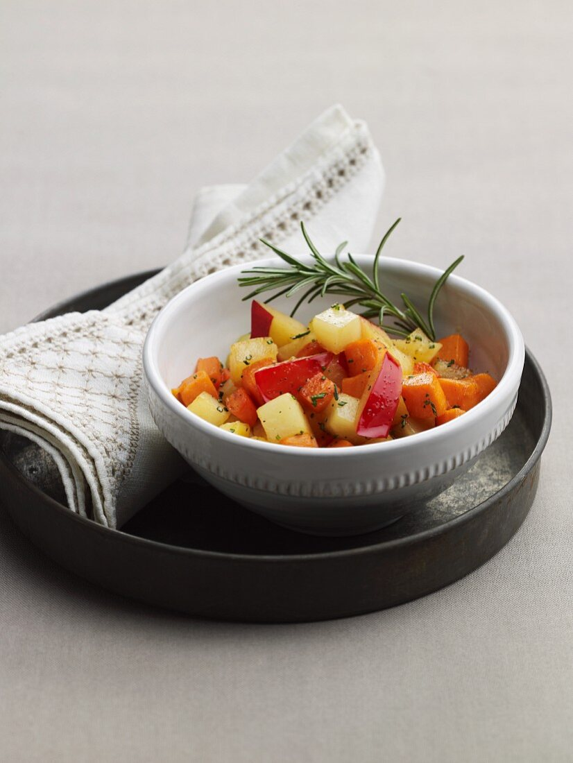 Tzimmes - slow cooked carrots, plums and potatoes (Jewish)