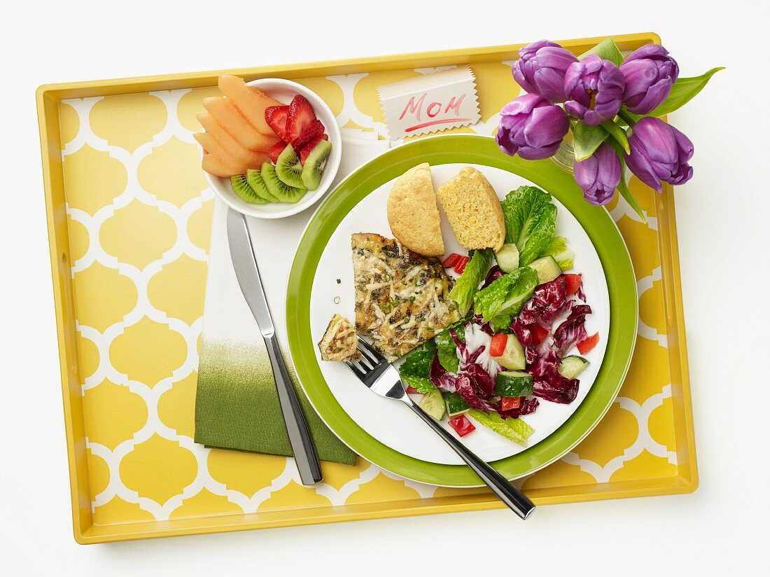 Onion and herb frittata with salad for Mother's Day (diabetic meal)