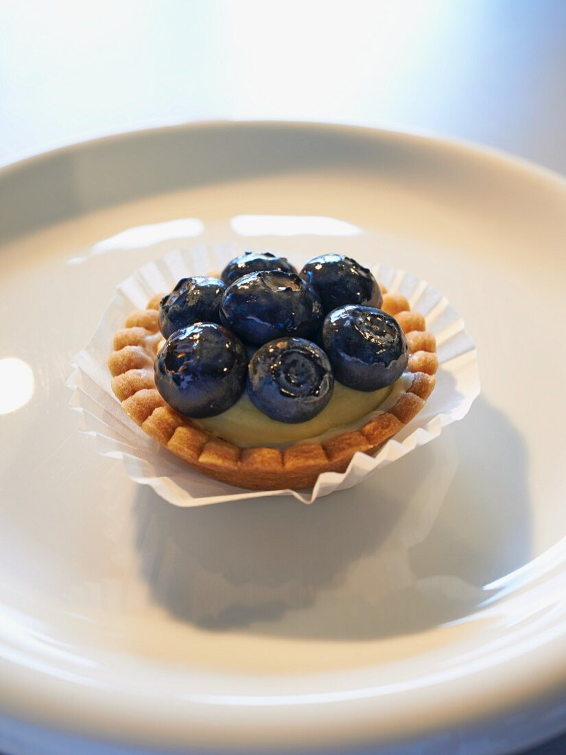 A shortcrust tartlet with lemon and mascarpone cream and blueberries