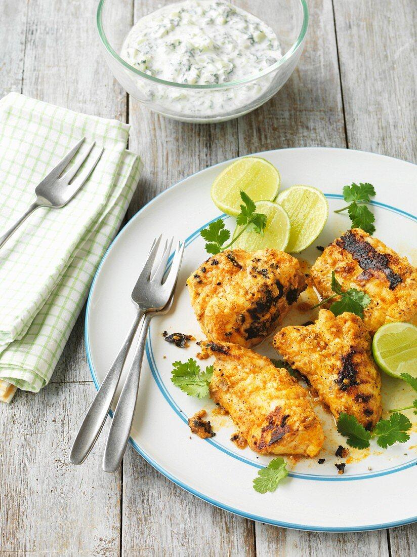 Tandoori fish with cucumber raita