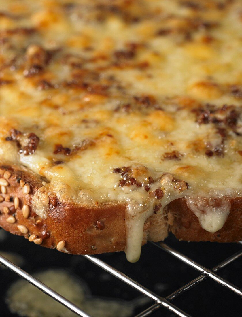 A close-up of melted cheese with mustard on toast