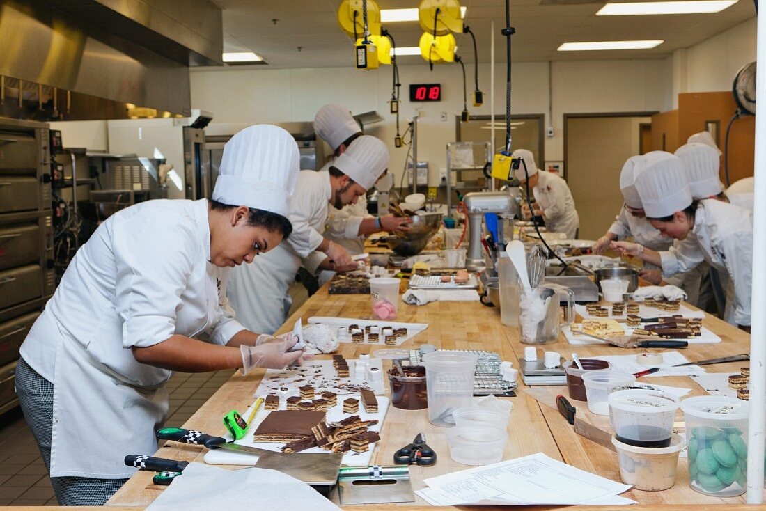 Petit fours being made in a cookery lesson