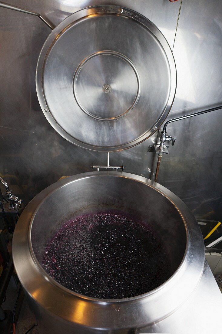 Blueberry jam being made on a farm