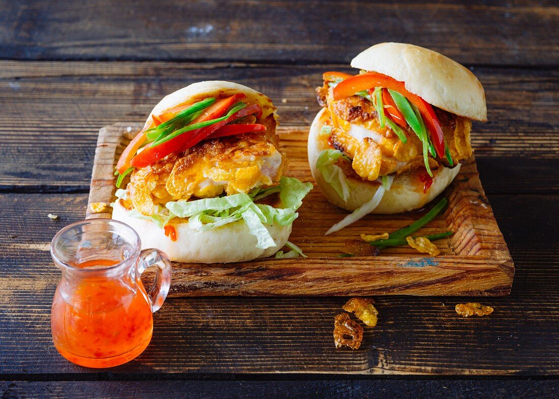 A burger with crispy chicken