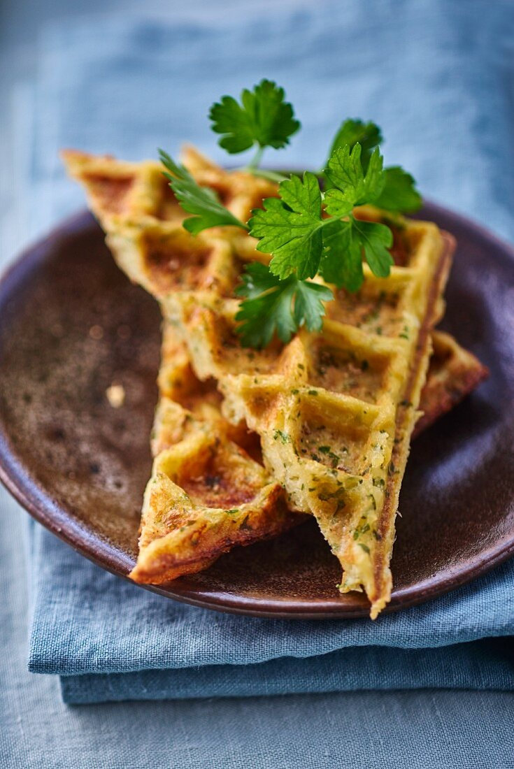 Potato and herb waffles