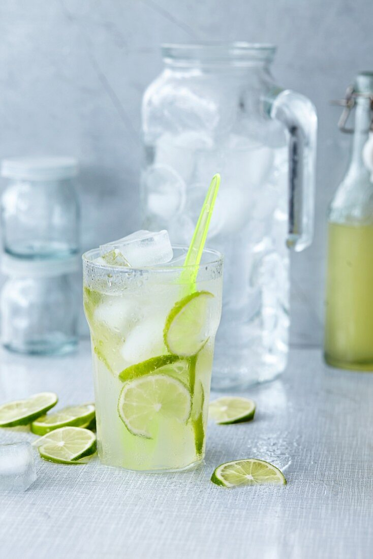 Homemade lemonade with slices of lime