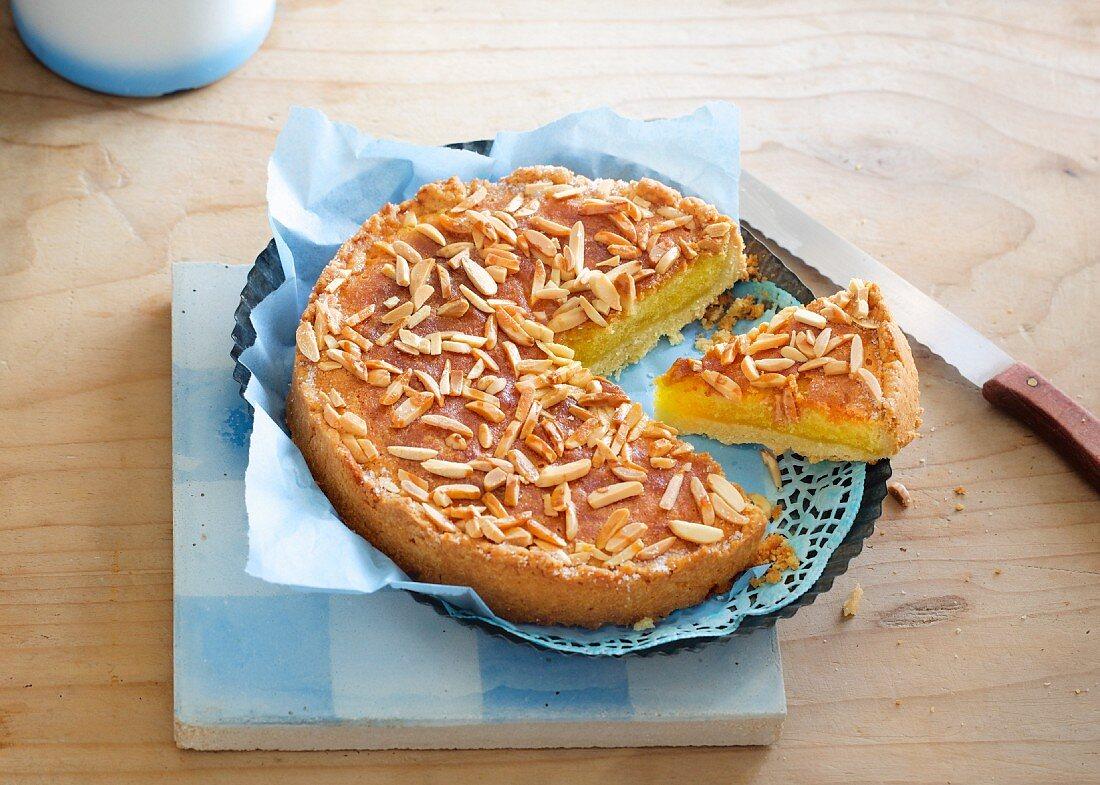 A small amaretto and almond tart