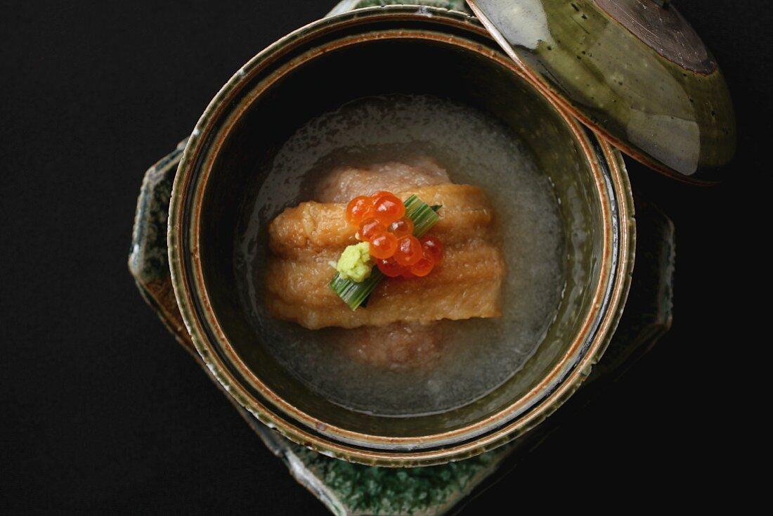 Eel in broth with caviar (Japan)