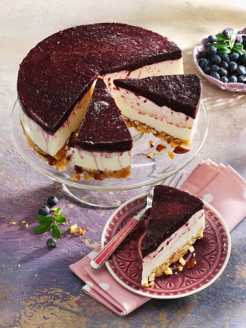 Blueberry cheesecake from the fridge