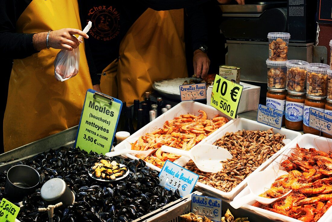 A fish market stall in Trouville (France)