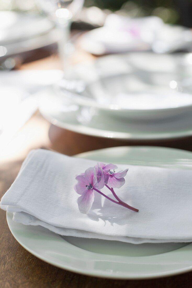 Single hydrangea floret decorating place setting