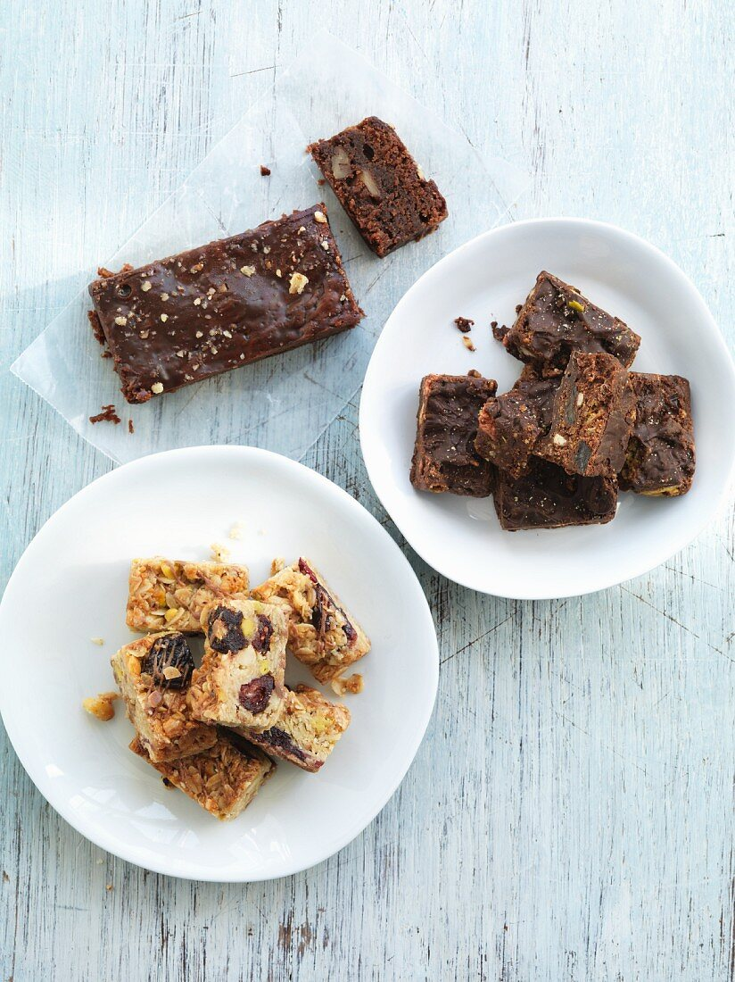Oat bars, chocolate and honey bars and brownies