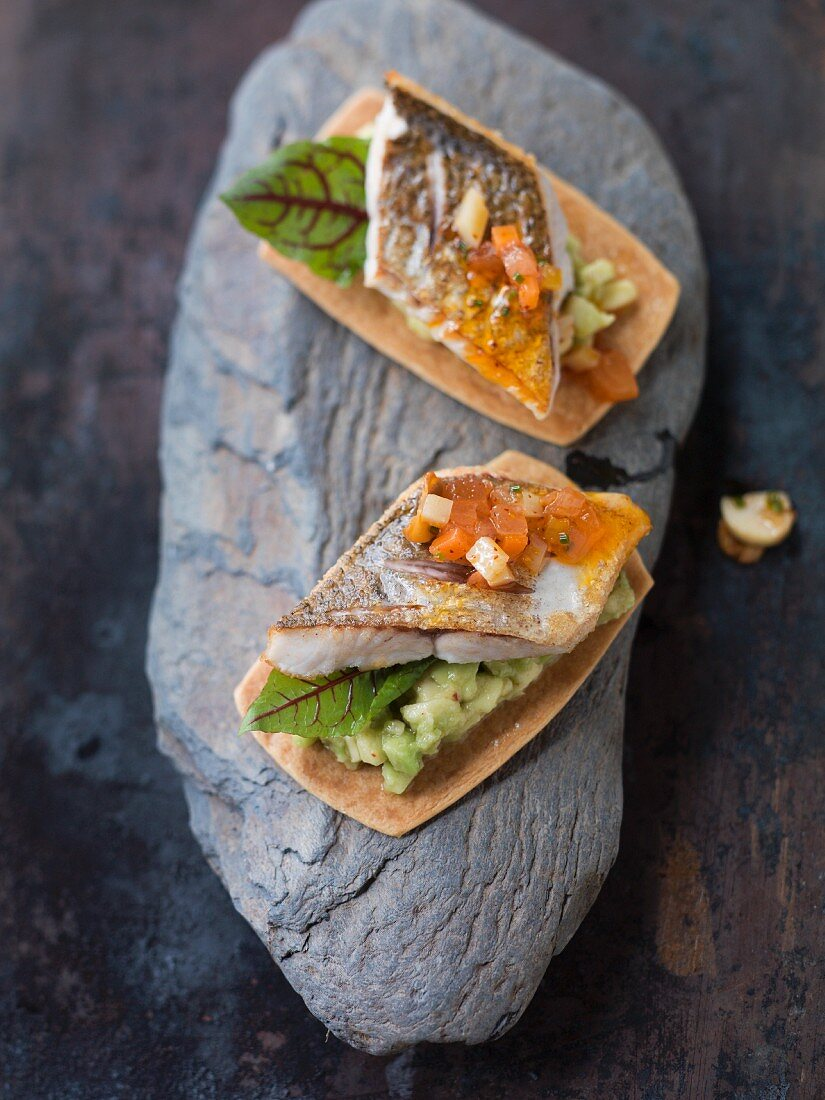 Whitefish with avocado on puff pastry