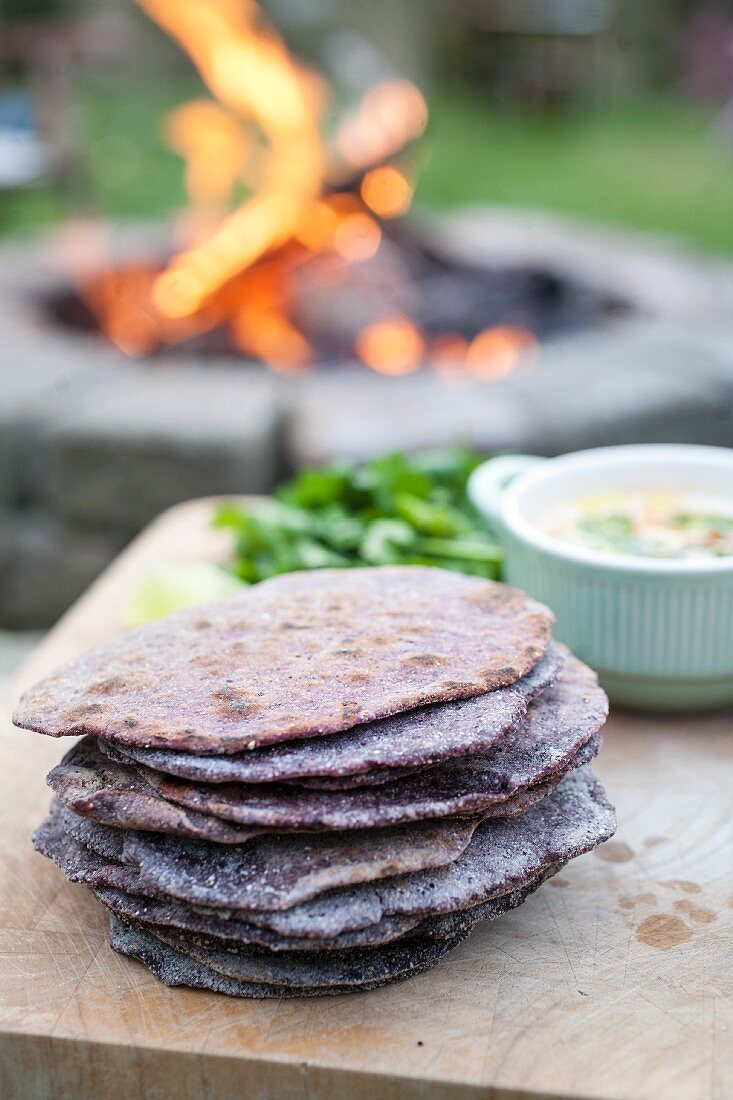 A stack of unleavened bread for a picnic