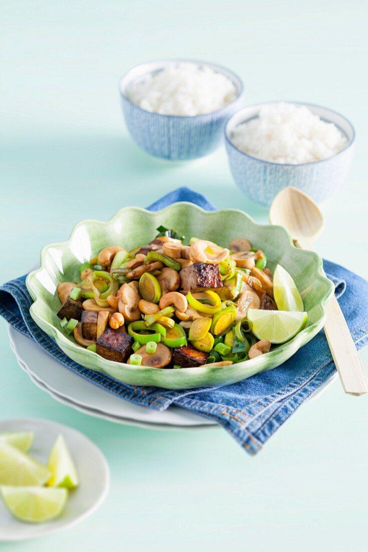 Flash fried leeks with cashew nuts and tofu