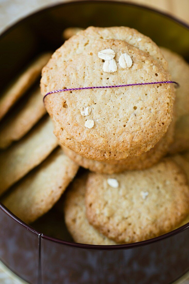 Oat biscuits in a biscuit tin