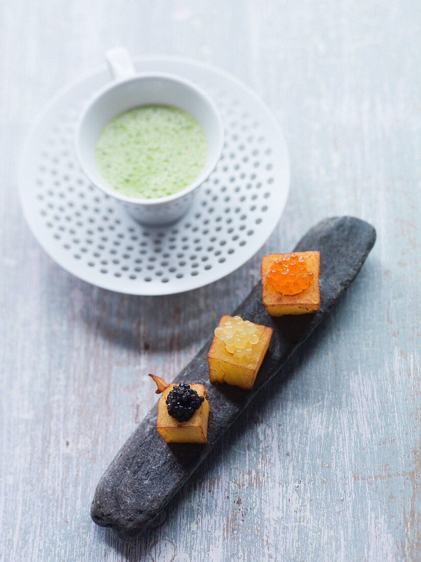 Cold leek and potato soup with caviar potatoes
