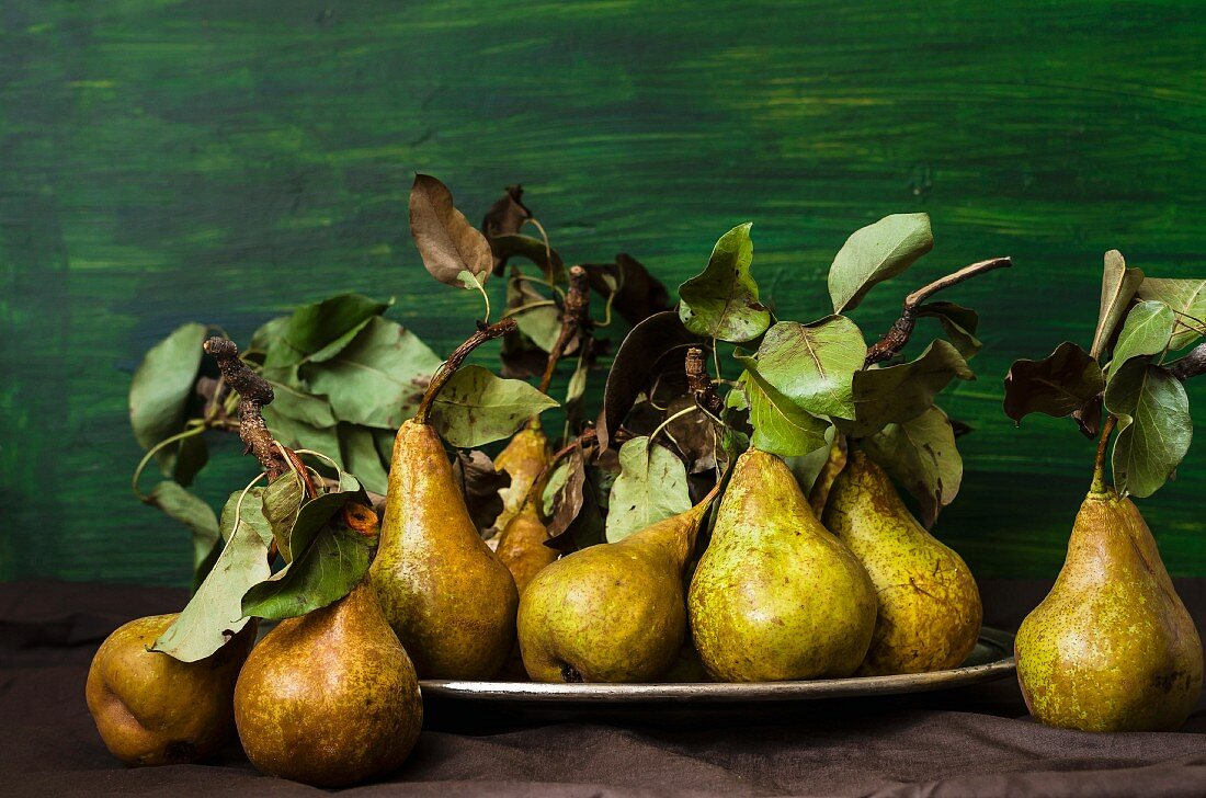 Pears with dried leaves