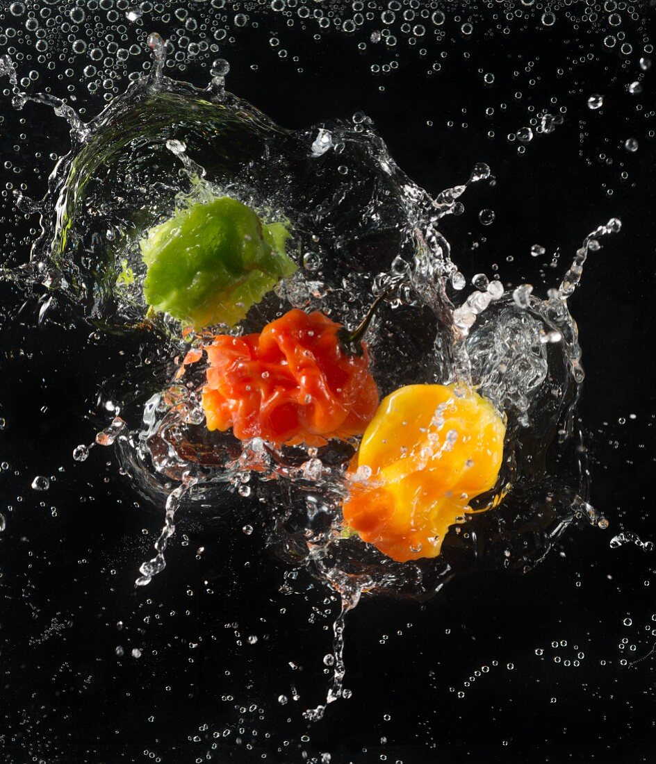 Chillies falling into water