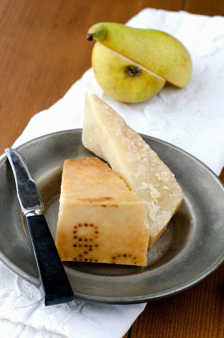 Parmesan cheese and a pear