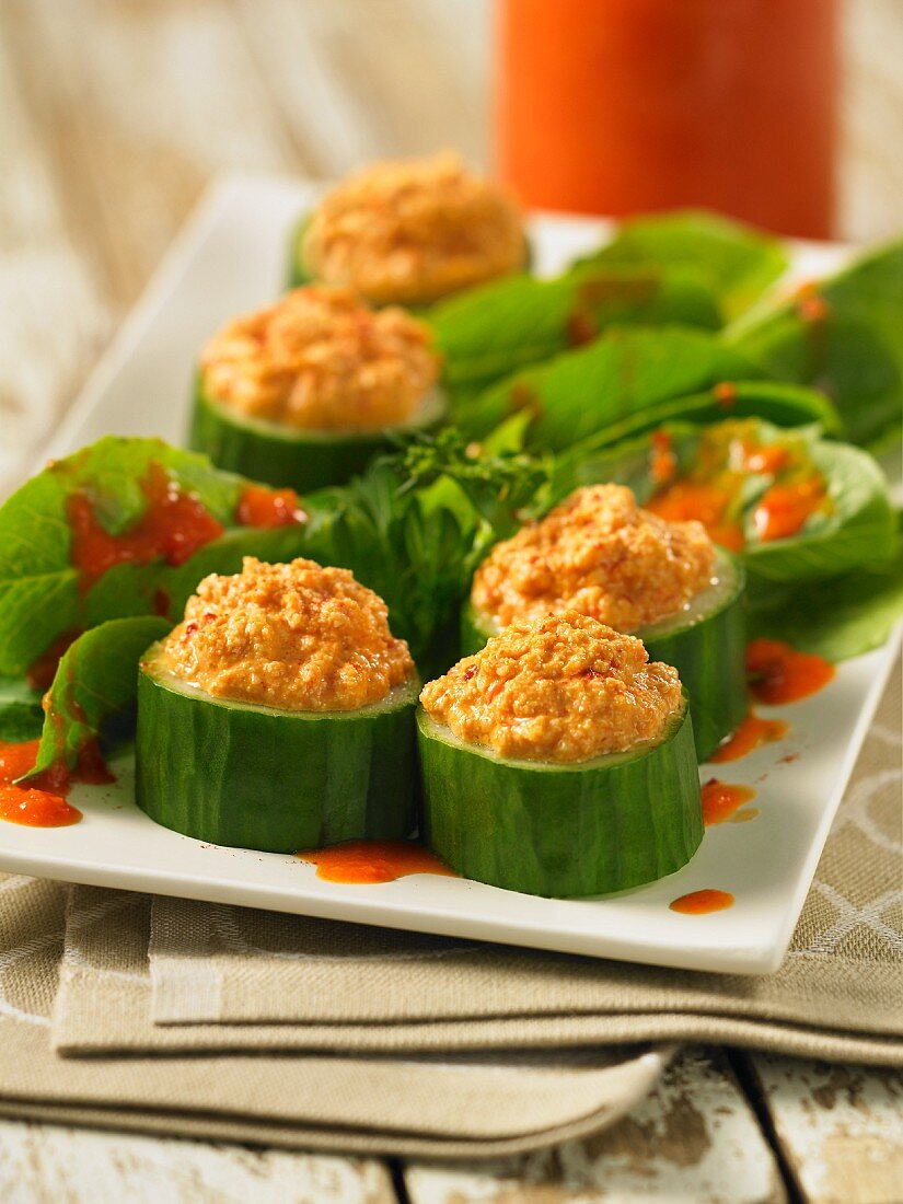 Cucumber canapes filled with chickpea purée