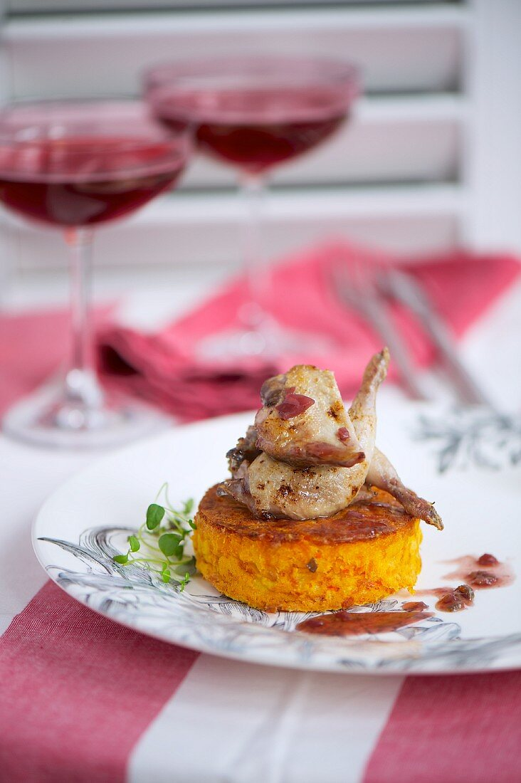 Carrot fritter with quail legs