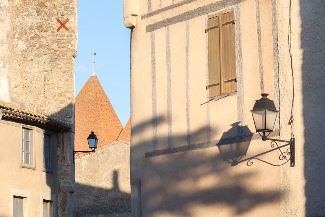 Buildings in the citadel of Carcassonne (France)