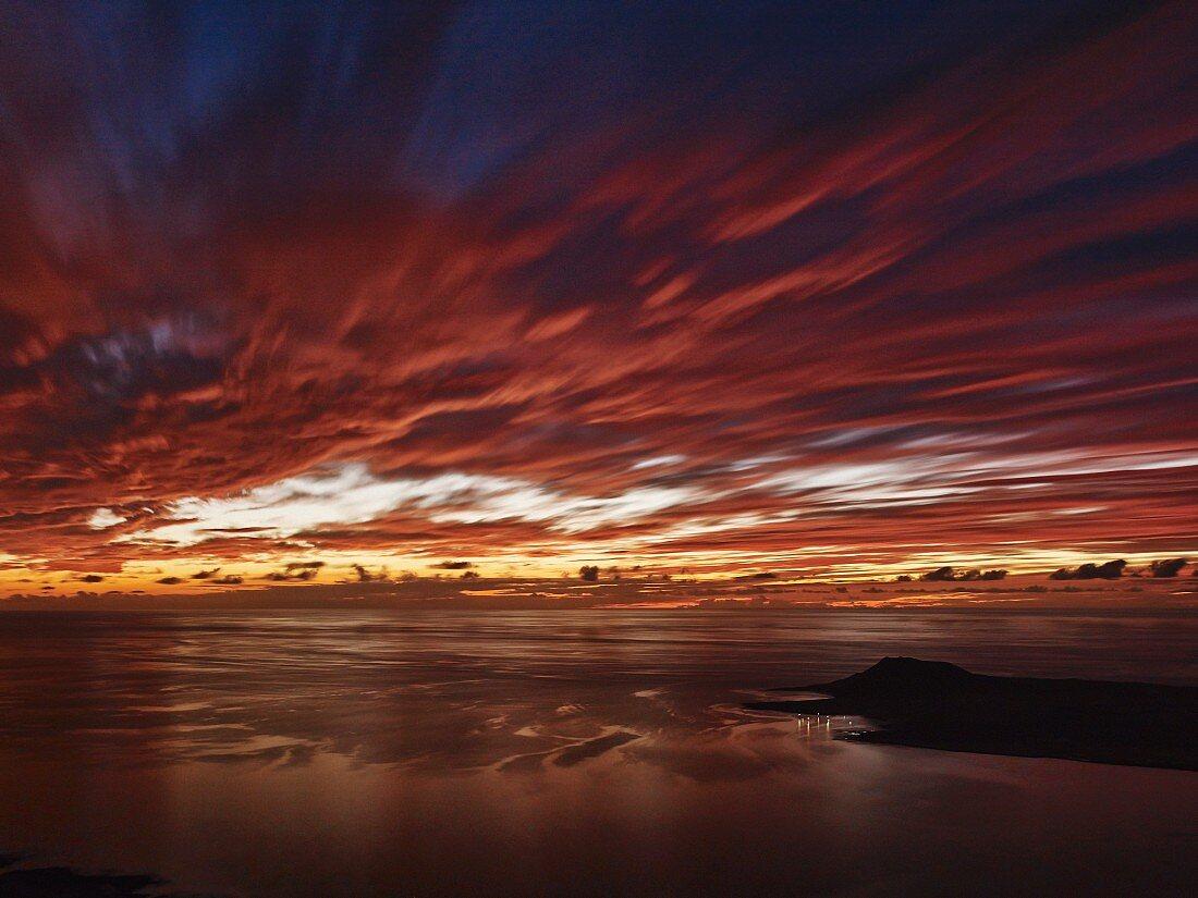 Sunset over the sea at Mirador del Rio (Lanzarote, Spain)