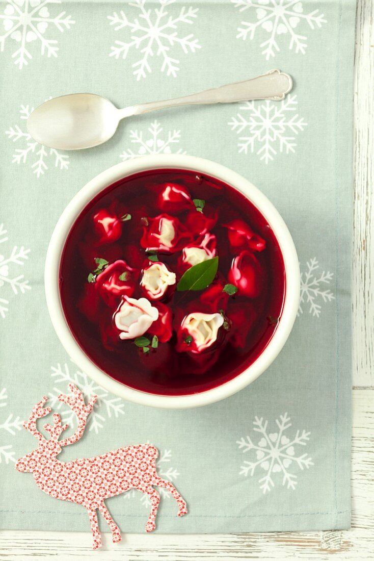 Beetroot soup with dumplings for Christmas (Poland)