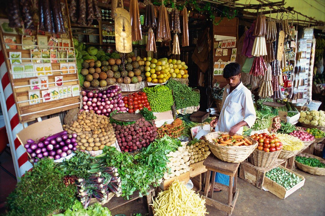 A vegetable stall at the central market in Kandy, Sri Lanka, Asia