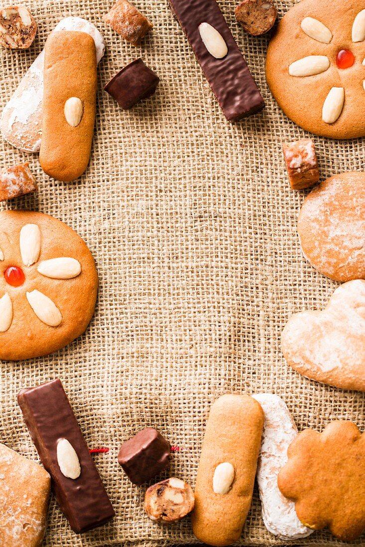 Gingerbread on a hessian sack