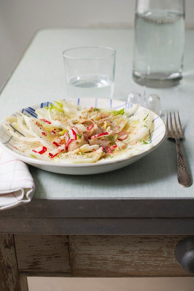 Fennel and radish salad with anchovy cream