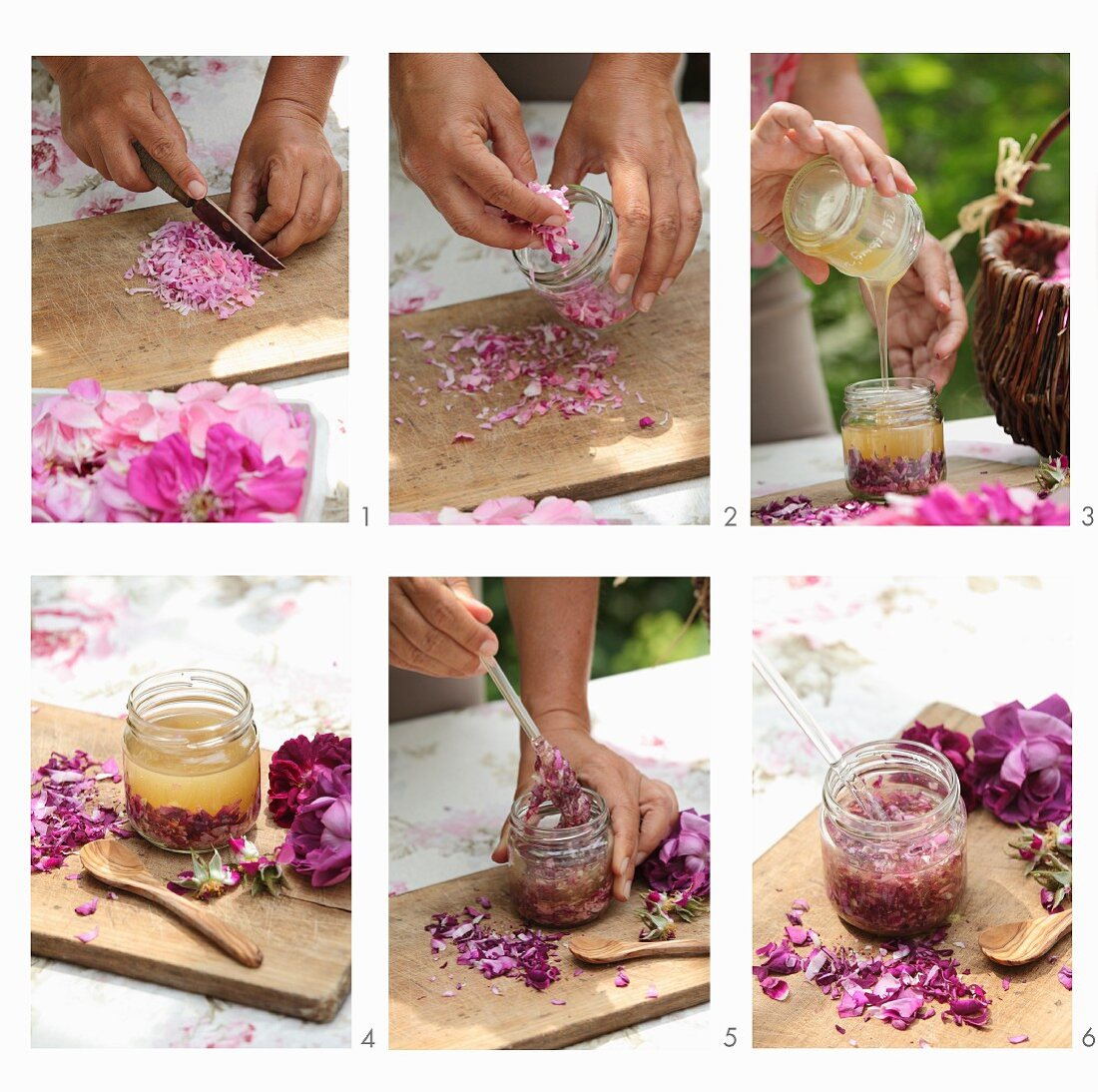 Rose honey being made with honey and rose petals