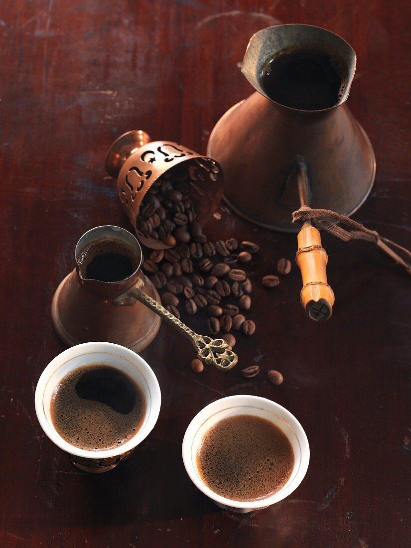 Turkish coffee and mocha beans
