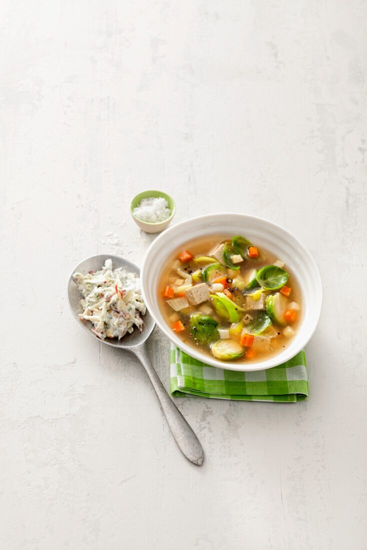 Brussels sprouts stew with carrots and tofu