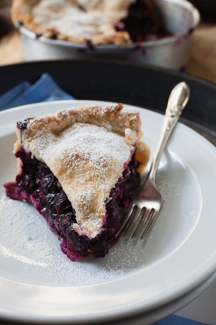 A slice of blueberry pie dusted with icing sugar on a plate