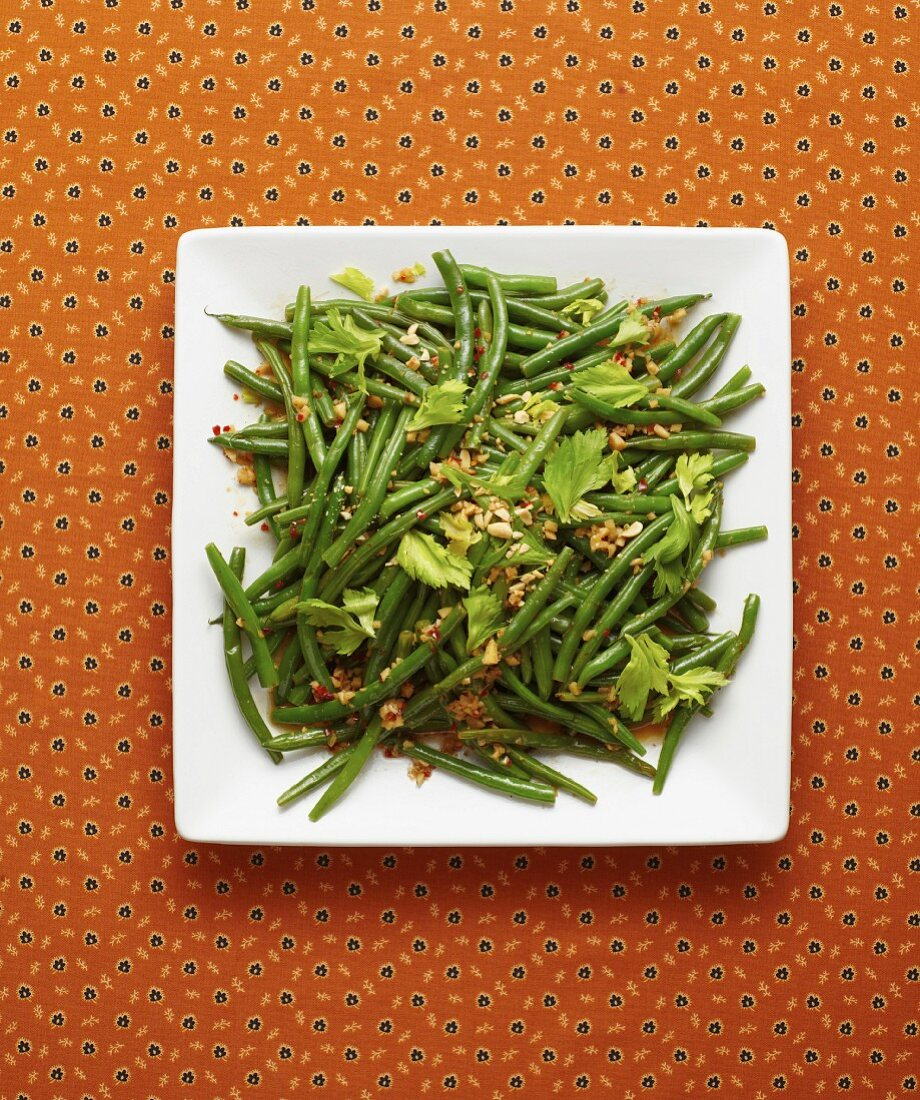 Green beans with brown butter and a spicy ginger and fish sauce