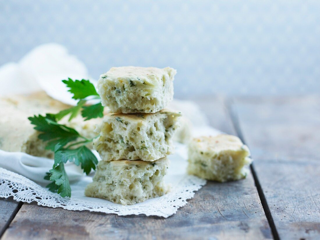 Cubes of ciabatta bread with herbs