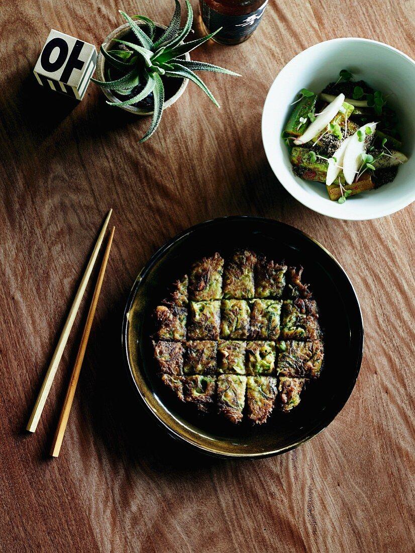 Cucumber kimchi and zucchini pancake