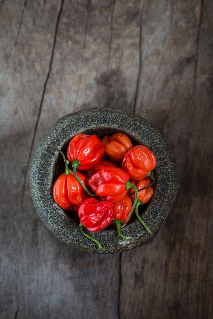 Fresh Scotch Bonnet chilli peppers in a mortar