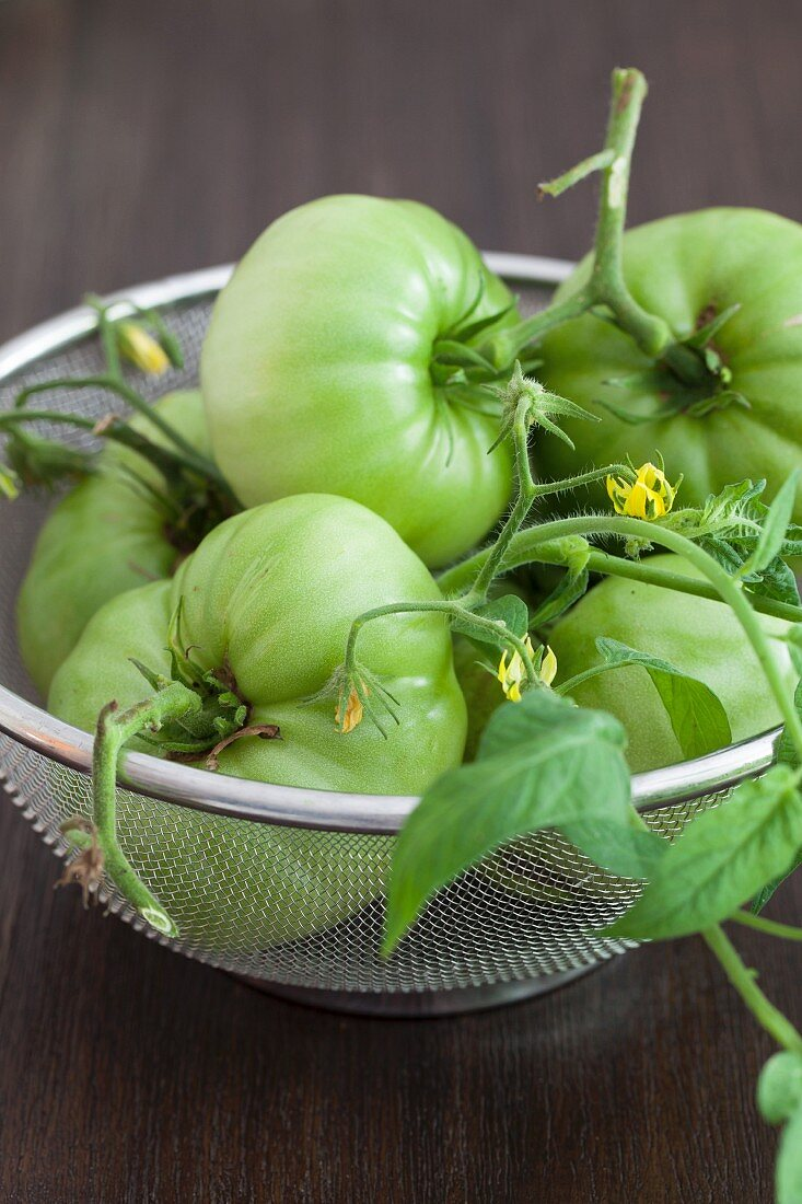 Green vine tomatoes with flowers in a wire basket
