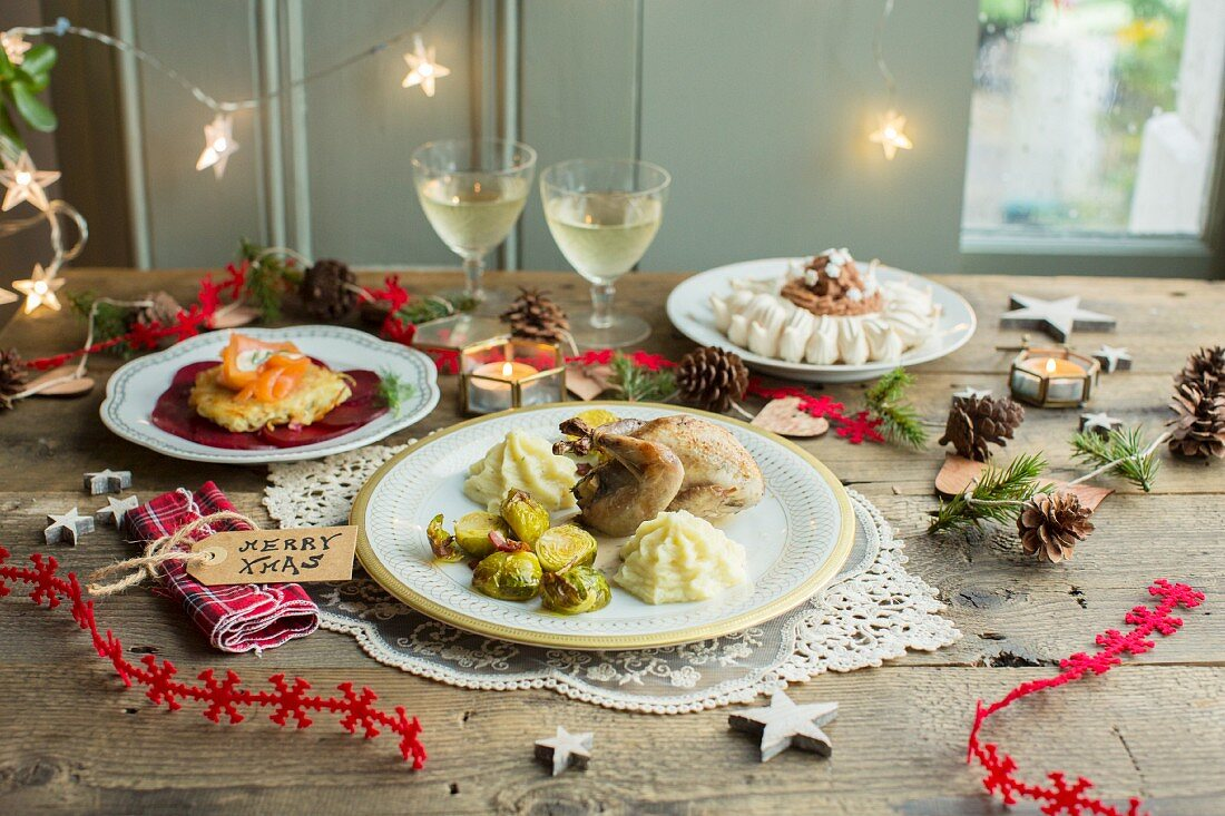 Christmas dinner: potato cakes with smoked salmon and beetroot, quail with Brussels sprouts and chestnut purée and Mont Blanc pavlova with chestnut cream